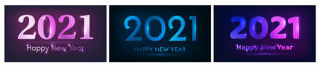 2021 Happy New Year neon background. Set of three abstract neon backdrops with lights for Christmas holiday greeting card, flyers or posters. Vector illustration 版權商用圖片 - 159636296