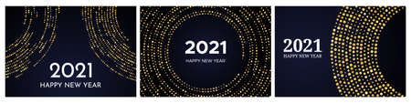 2021 Happy New Year of gold glitter pattern in circle form. Set of three abstract gold glowing halftone dotted backgrounds for Christmas holiday greeting card on dark background. Vector illustration 向量圖像