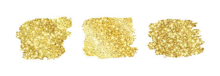 Set of three golden glittering smears on a white background. Background with gold sparkles and glitter effect. Empty space for your text.  Vector illustration