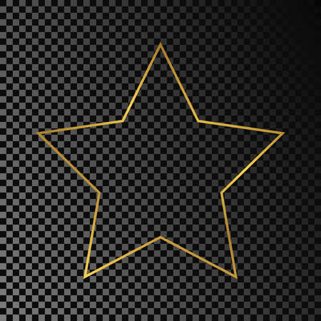 Gold glowing star shape frame isolated on dark transparent background. Shiny frame with glowing effects. Vector illustration.