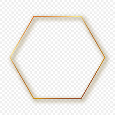 Gold glowing hexagon frame with shadow isolated on transparent background. Shiny frame with glowing effects. Vector illustration.
