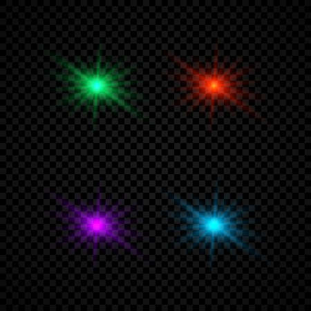 Light effect of lens flares. Set of four green, red, purple and blue glowing lights starburst effects with sparkles on a dark transparent background. Vector illustration