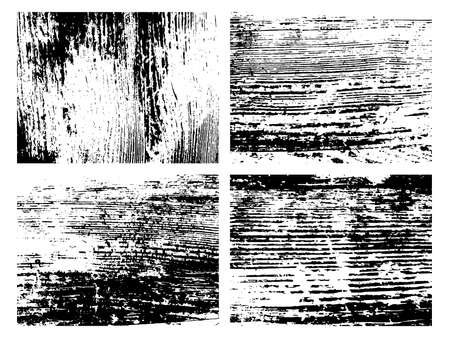 Grunge natural wood monochrome texture. Set of four abstract wooden surface overlay backgrounds in black and white. Vector illustration
