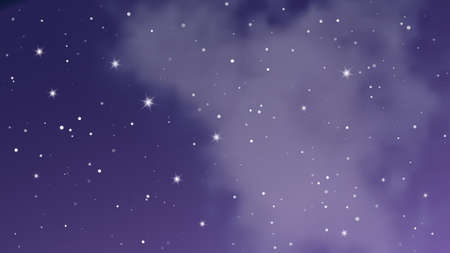 Night sky with clouds and many stars. Abstract nature background with stardust in deep universe. Vector illustration. Vetores