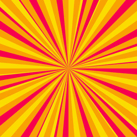 Yellow and red comic book page background in pop art style with empty space. Template with rays, dots and halftone effect texture. Vector illustration