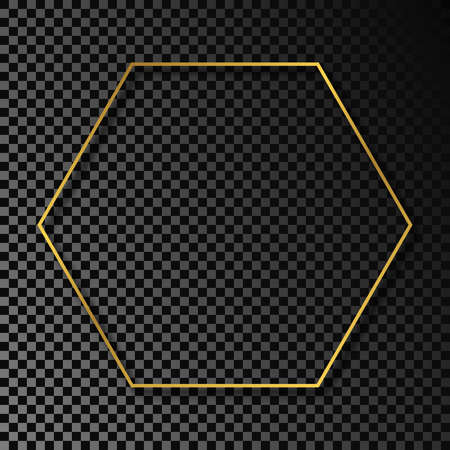 Gold glowing hexagon frame with shadow isolated on dark transparent background. Shiny frame with glowing effects. Vector illustration.
