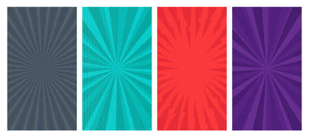 Set of four comic book pages backgrounds in pop art style with empty space. Template with rays, dots and halftone effect texture. Vector illustration Ilustracja