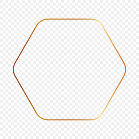 Gold glowing rounded hexagon frame isolated on transparent background. Shiny frame with glowing effects. Vector illustration.