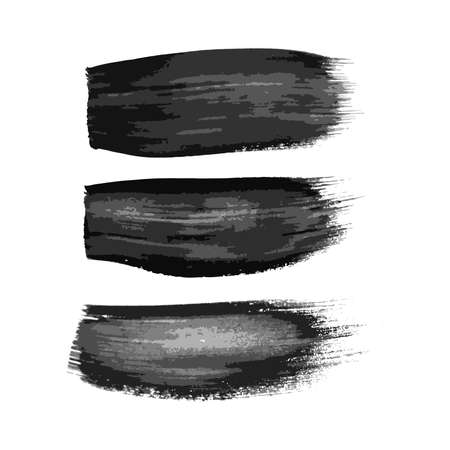 Set of three black brush strokes. Hand drawn ink spots isolated on white background. Vector illustration