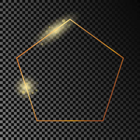 Gold glowing pentagon shape frame isolated on dark transparent background. Shiny frame with glowing effects. Vector illustration.