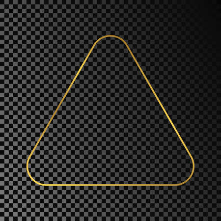 Gold glowing rounded triangle frame isolated on dark transparent background. Shiny frame with glowing effects. Vector illustration.