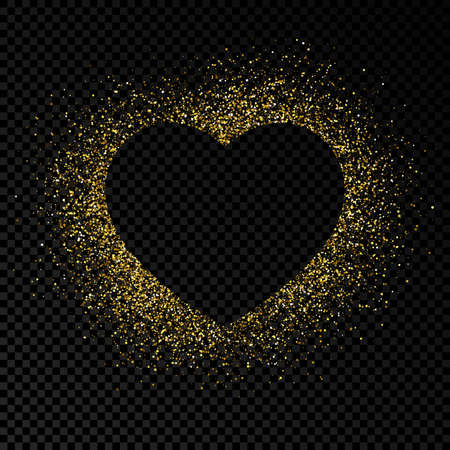 Heart shape frame with golden glitter on dark transparent background. Greeting card with empty dark background. Vector illustration.  イラスト・ベクター素材