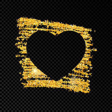 Heart on golden glittering scribble paint on dark transparent background. Background with gold sparkles and glitter effect. Empty space for your text. Vector illustration