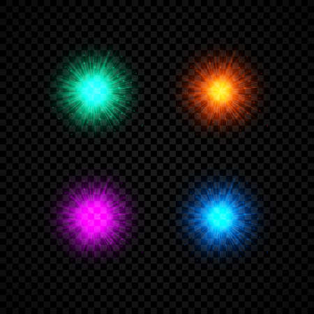 Light effect of lens flares. Set of four green, orange, purple and blue glowing lights starburst effects with sparkles on a dark transparent background. Vector illustration