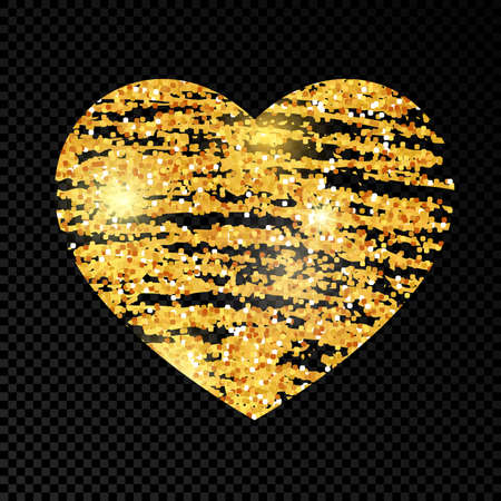 Heart with golden glittering scribble paint on dark transparent background. Background with gold sparkles and glitter effect. Empty space for your text. Vector illustration Ilustracja