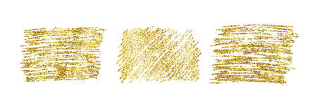 Set of three golden paint glittering backdrops on a white background. Background with gold sparkles and glitter effect. Empty space for your text. Vector illustration