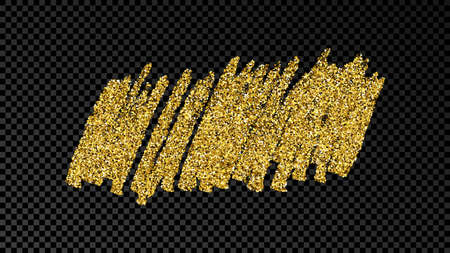 Hand drawn ink spot in gold glitter. Gold ink spot with sparkles isolated on dark transparent background. Vector illustration Vecteurs