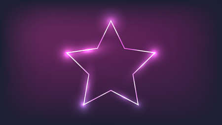 Neon frame in star form with shining effects on dark background. Empty glowing techno backdrop. Vector illustration.