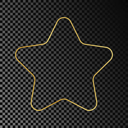 Gold glowing rounded star shape frame isolated on dark transparent background. Shiny frame with glowing effects. Vector illustration. 矢量图像