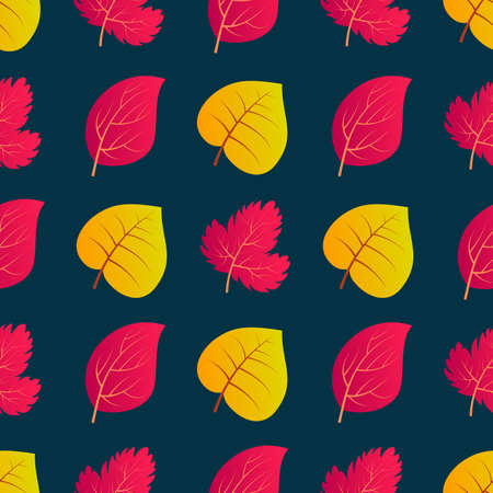 Autumn seamless background with colorful leaves. Design for fall season posters, wrapping papers and holidays decorations. Vector illustration Ilustração