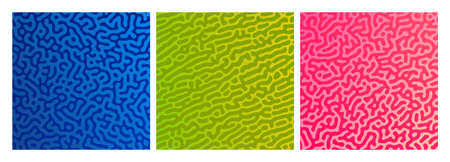 Set of three colorful turing reaction gradient backgrounds. Abstract diffusion pattern with chaotic shapes. Vector illustration.