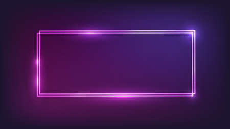 Neon double rectangular frame with shining effects on dark background. Empty glowing techno backdrop. Vector illustration.
