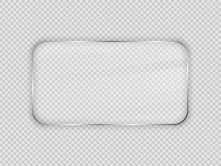 Glass plate in rounded rectangular frame isolated on transparent background. Vector illustration. Vektorgrafik