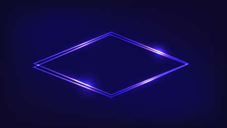 Neon double rhombus frame with shining effects on dark background. Empty glowing techno backdrop. Vector illustration.