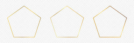 Set of three gold glowing pentagon shape frames isolated on transparent background. Shiny frame with glowing effects. Vector illustration.
