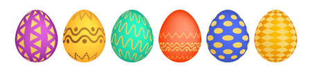 Set of six colorful Easter eggs on white background. Holiday gift decoration. Vector illustration.
