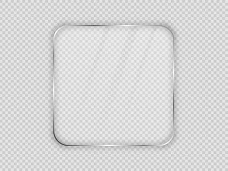 Glass plate in rounded square frame isolated on transparent background. Vector illustration. 向量圖像