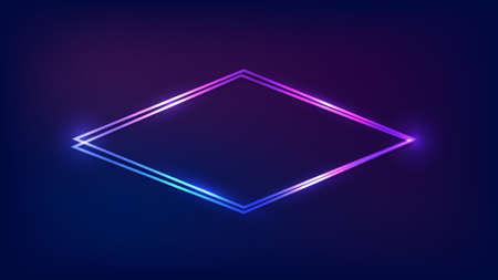 Neon double rhombus frame with shining effects on dark background. Empty glowing techno backdrop. Vector illustration. 版權商用圖片 - 164872353