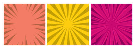 Set of three comic book pages backgrounds in pop art style with empty space. Template with rays, dots and halftone effect texture. Vector illustration 向量圖像