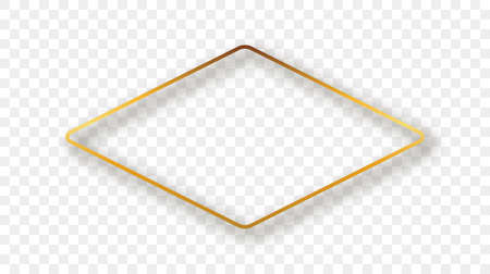 Gold glowing rounded rhombus shape frame with shadow isolated on transparent background. Shiny frame with glowing effects. Vector illustration.