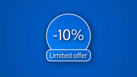 Blue limited offer banner with a 10% discount. White numbers on blue backgrounds with shadow. Vector illustration