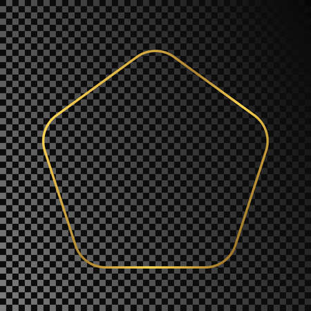 Gold glowing rounded pentagon shape frame isolated on dark transparent background. Shiny frame with glowing effects. Vector illustration. 向量圖像
