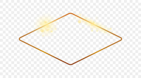 Gold glowing rounded rhombus shape frame isolated on transparent background. Shiny frame with glowing effects. Vector illustration. 版權商用圖片 - 164870593