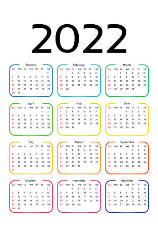 Calendar for 2022 isolated on a white background. Sunday to Monday, business template. Vector illustration 向量圖像