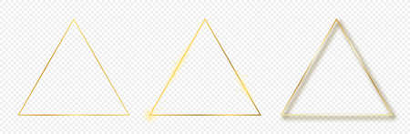 Set of three gold glowing triangle frames isolated on transparent background. Shiny frame with glowing effects. Vector illustration.