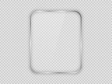 Glass plate in rounded vertical frame isolated on transparent background. Vector illustration. 版權商用圖片 - 164942436