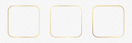 Set of three gold glowing rounded square frames isolated on transparent background. Shiny frame with glowing effects. Vector illustration. 向量圖像
