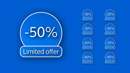 Set of nine banner limited offer with different percentages of discounts from 10 to 90. White numbers on blue backgrounds with shadow. Vector illustration
