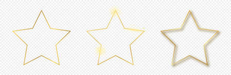 Set of three gold glowing star shape frames isolated on transparent background. Shiny frame with glowing effects. Vector illustration.