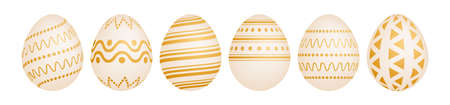 Set of six gold Easter eggs on white background. Holiday gift decoration. Vector illustration.