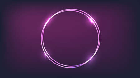 Neon double round frame with shining effects on dark background. Empty glowing techno backdrop. Vector illustration. 向量圖像