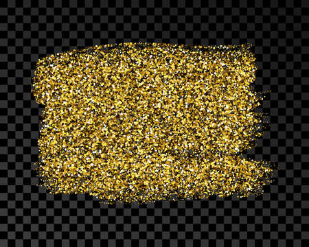 Hand drawn ink spot in gold glitter. Gold ink spot with sparkles isolated on dark transparent background. Vector illustration 版權商用圖片 - 164870490