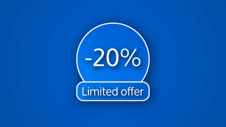 Blue limited offer banner with a 20% discount. White numbers on blue backgrounds with shadow. Vector illustration