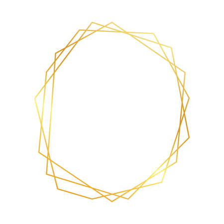 Gold geometric polygonal frame with shining effects isolated on white background. Empty glowing art deco backdrop. Vector illustration. 向量圖像