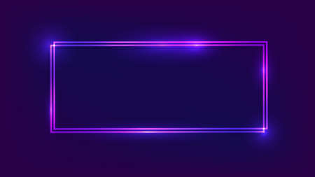 Neon double rectangular frame with shining effects on dark background. Empty glowing techno backdrop. Vector illustration. 向量圖像