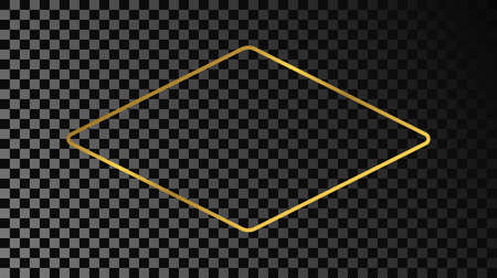 Gold glowing rounded rhombus shape frame isolated on dark transparent background. Shiny frame with glowing effects. Vector illustration.